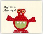 Baby boy room art, Nursery Decor Art for Kids Room, monsters...My Little Monster..red monster
