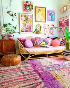 Colourful Living Room, Boho Living Room, Living Room Decor, Bedroom Decor, Aesthetic Room Decor, Eclectic Decor, Home Decor Inspiration, Decor Ideas, House Colors