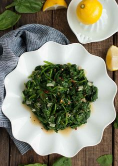 Who knew spinach could taste so good? This quick and easy sauteed spinach recipe is a delicious low calorie side to any main dish and is ready in 15 minutes!