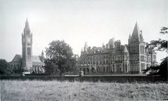 (500×302) Waterhouse Hall: During both World Wars, parts of the hall were used as a hospital. In 1943, the Britannia Royal Naval College moved to the hall from Dartmouth when the college there was bombed. They moved back to Dartmouth in 1946, after which the hall was used as an officer cadet training school until the end of National Service in 1958. English Architecture, Historical Architecture, Victorian Castle, Victorian Gothic, Eaton Hall, Equestrian Statue, Castle House, Listed Building, Old Buildings