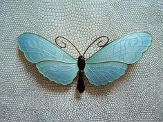 Silver & Blue Enamel Butterfly Brooch - Gustav Gaudernack, Norway c1910