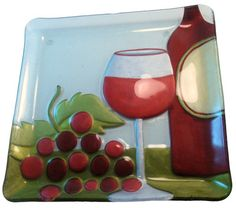 Red Wine Glass Fusion Plate by Lori Siebert  Glass Fusion Artist: Lori Siebert