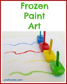 Frozen paint art is a fun way to create artwork! Freeze paint into ice cube trays with a craft stick as a handle. Try edible paint instead of acrylic Fun Arts And Crafts, Craft Stick Crafts, Toddler Art, Toddler Crafts, Toddler Activities, Preschool Activities, Nursery Activities, Kindergarten Fun, Frozen Painting