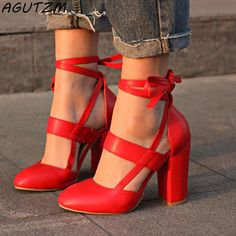 Sexy Red Lace up High Heels Fashion Shoes sold by KoKo Fashion. Shop more products from KoKo Fashion on Storenvy, the home of independent small businesses all over the world. Lace Up High Heels, Super High Heels, Thick Heels, Ankle Straps, Ankle Strap Sandals, Heeled Sandals, Fashion Heels, Fashion Boots, Style Fashion