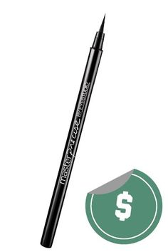 """Maybelline Eye Studio Master Precise Ink Pen Eyeliner, $7.99.  """"The pen is not quite as fine tipped as the Kat Von D liner, but still applies in a smooth, clean line. It's also not quite as midnight black, but will get the job done."""""""