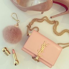 yves saint laurent handbag, christian louboutin pumps shoes nude, fashion, pink lipstick, fluffy accessory
