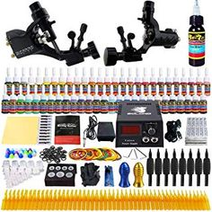 Solong Tattoo Complete Tattoo Kit 2 Pro Rotary Tattoo Machine Guns 54 Inks Power Supply Foot Pedal Needles Grips Tips ** See this great product-affiliate link. Tattoo Machine Kits, Rotary Tattoo Machine, Black Ink Tattoos, Top Tattoos, Professional Tattoo Kits, Enough Tattoo, Tattoo Power Supply, Geometric Flower, Tattoo Supplies