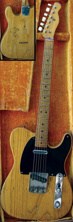 """Jimbo"" The 1951 Fender Broadcaster was a hand-me-down from Jimmie to Stevie in the late 1960's. Presumably it was Jimmie who carved ""Jimbo"" on the back of the guitar. He also had a porcelain door knob on the guitar for a while. Stevie took it to shop class at school and sanded all the finish off. It is apparently this guitar that can be heard on the earliest known recording of Stevie, playing at the End of Cole Avenue club in Dallas in 1969. Stevie traded it for an Epiphone Riviera,"
