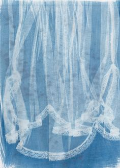 I created cyanotypes from clothing, selecting items that where sheer or had embellishments like embroidery or sequins on them. These turned out very well and had a ghostly look particularly the vintage style nightdress. I used A3 paper, exposing the clothing in different sections, trying both portrait and landscape, I'd like to try some different surfaces next like wood and canvas and create larger exposures that can fit the whole item on them.