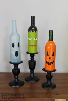 DIY Halloween Wine Bottles - its tough work drinking all that wine but @StephanieVuono and I will persevere in the name of bottle art and the Halloween party.... Lol just think, Halloween is so far away, we would have a ton of decorative bottles lol