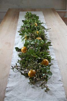 mistletoe and meyer lemon garland, finished, by Justine Hand for Remodelista