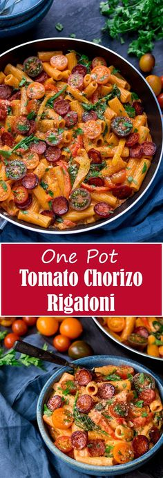 One Pot Creamy Tomato and Chorizo Rigatoni with mozzarella and parmesan - a quick and easy mid-week dinner, ready in less than 25 mins!