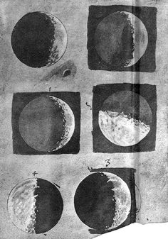 """Sketches of the moon from Galileo's """"Sidereus Nuncius,"""" a short treatise on Galileo's early observations of the Moon, the stars, and the moons of Jupiter; it was the first scientific treatise based on observations made through a telescope."""