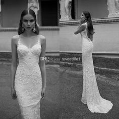 Wholesale Wedding Dresses - Buy Sexy Spaghetti Straps Backless Sheath Wedding Dresses With Applique Beads Accent 2014 Berta Bridal Church Vintage Lace Bridal Gowns, $179.0 | DHgate