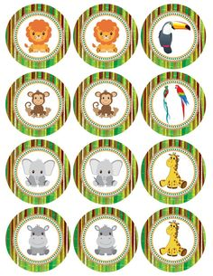 Baby Shower Cupcakes For Boy, Cupcakes For Boys, Baby Boy Shower, Baby Showers, Safari Party, Safari Theme, Emoji Cupcake Toppers, Safari Cupcakes, Safari Decorations