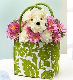 Carnations and Daisies, Canvas Tote Bag, A-Dog-Able Collection