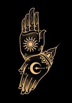 Sun and Moon. For meditation and yoga practice. Tatuagem Sak Yant, Tibetan Tattoo, Meditation Symbols, Geometric Mandala Tattoo, Pagan Art, Chinese Patterns, Tatuagem Old School, Buddha Art, Samurai Art