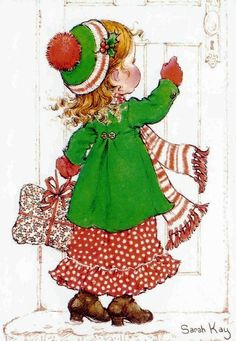 Sarah Kay: Making Christmas deliveries! Sarah Key, Holly Hobbie, Illustration Noel, Christmas Illustration, Illustrations, Christmas Images, Christmas Art, Vintage Christmas, Clipart