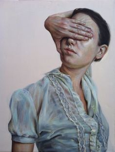 "Monica Cook, Blinded, oil on linen, 24"" x 30"" (self-portrait)"