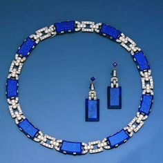 An art deco lapis lazuli and diamond demi-parure, circa 1930