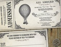 Steampunk inspired Hot Air Balloon Ticket Invitation for wedding with matching response card
