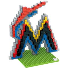 Miami Marlins MLB 3D BRXLZ Construction Puzzle Set Team Logo