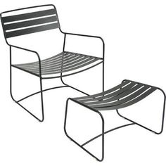Fermob Surprising Low Arm with Footrest Chair Finish: Liquorice