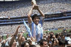 Crowning moment: Diego Maradona lifts the trophy following Argentina's 3-2 victory over We...