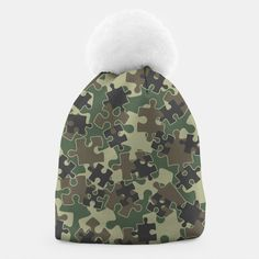 Jigsaw Puzzle Pieces Camo WOODLAND GREEN Beanie, Live Heroes