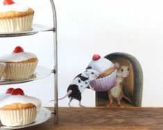 Mice with a Cupcake Mouse hole Wall Sticker unique decals by lola murals Wall Stickers Unique, Vinyl Wall Stickers, Decals, Wall Decal, Mouse Hole, The Night Before Christmas, Adhesive Vinyl, Birthday Decorations, Wall Murals