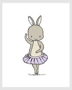 Girl Nursery Art  Bunny Ballerina por SweetMelodyDesigns en Etsy