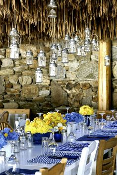 When Brazil Meets Greece Wedding @ Alemagou, Mykonos - De Plan V Santorini Wedding, Greece Wedding, Brazil Beaches, Mykonos Island, Table Set Up, Wedding Dinner, Hanging Lanterns, Table Arrangements, Island Weddings