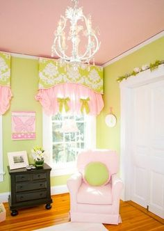 Love the pink ceiling and chandelier