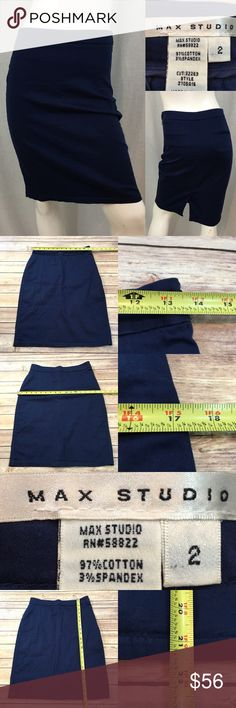 Size 2 Max Studio Blue High Waist Pencil Skirt • Measurements are in photos  • Material tag is in photos • Normal wash wear, no flaws • High Waist  • Stretch  • fitted  F4/60  Thank you for shopping my closet! Max Studio Skirts Pencil