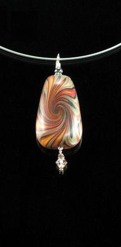 Handmade Polymer Clay Pendant Necklace - Spun Gold & Copper. $25.00, via Etsy.