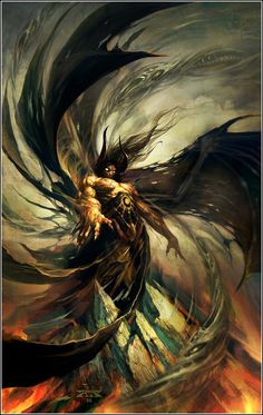 """art by Raymond Swanland for the cover of """"The Black Company"""" by Glen Cook, 1992."""