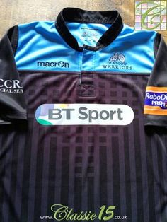 Official Macron Glasgow Warriors home rugby shirt from the 2013/14 season. Complete with Rabo Direct Pro 12 patch on the sleeve.