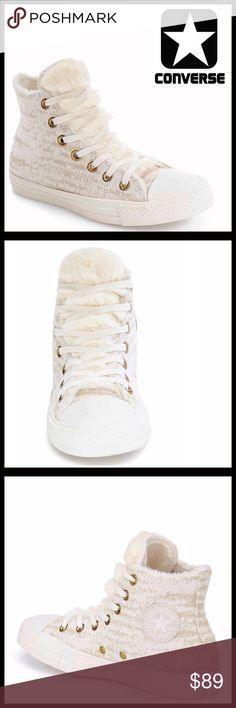 ⭐⭐ CONVERSE SNEAKERS HIGH TOPS Faux Fur Lined CONVERSE SNEAKERS **Additional Details & Photos will be added soon**   COLOR- ABOUT THIS ITEM * Round toe * Lace-up closure * Stripe outsole accent *   MATERIAL upper & rubber sole  ❌NO TRADES❌ ✅BUNDLE DISCOUNTS✅ OFFERS CONSIDERED (Via the offer button only)   SEARCH WORDS Converse Shoes Sneakers