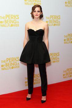 Emma Watson, en un look FW12/13 Haute Couture de Dior, en la presentación de 'The Perks of Being The Wallflower' el 26 de septiembre de 2012 en Londres, Inglaterra.