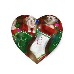The Stockings Were Hung Heart Sticker - christmas craft supplies cyo merry xmas santa claus family holidays