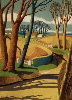English landscape by Edward McKnight Kauffer (1890-1954) c.1935