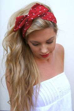 Rockabilly Headband Wired Dolly Bow PIN UP Fabric by Nachibands