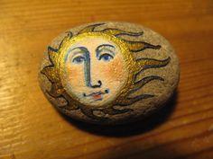 Painted pebble Sun Pebble by jamjarart on Etsy, $24.00