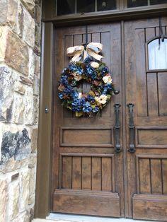 A personal favorite from my Etsy shop https://www.etsy.com/listing/248855763/hydrangea-fall-door-wreath