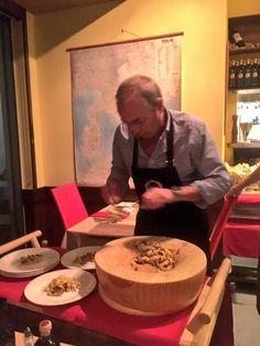 Pasta in a Parmesan wheel at Bologna Cafe, Osprey, Sarasota, FL