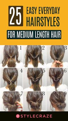 Easy Everyday Hairstyles, Easy Hairstyles, Black Hairstyles, Wedding Hairstyles, Homecoming Hairstyles, Latest Hairstyles, Hairstyle Ideas, Hairstyles For Medium Length Hair Tutorial, Cute Hairstyles For Medium Hair