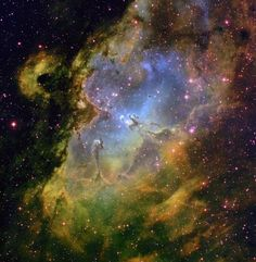 The colorful Eagle Nebula taken at the National Science Foundation's telescope on Kitt Peak. Located in the constellation of Serpens, the Serpent, the Eagle Nebula is a very luminous open cluster of stars surrounded by dust and gas. Cosmos, Hubble Space Telescope, Space And Astronomy, Telescope Images, Astronomy Stars, Constellations, Eagle Nebula, Orion Nebula, Andromeda Galaxy