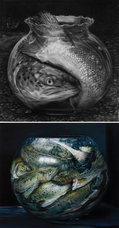 Cindy Wright still life - fish in goldfish bowl:
