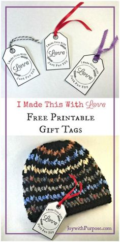FREE PRINTABLE tags to include with all of your handmade items (crochet, knitting, sewing, etc.) JOYwithPurpose.com