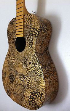 Gold Painted Guitar by BeesCuriosityShoppe on Etsy, $395.00